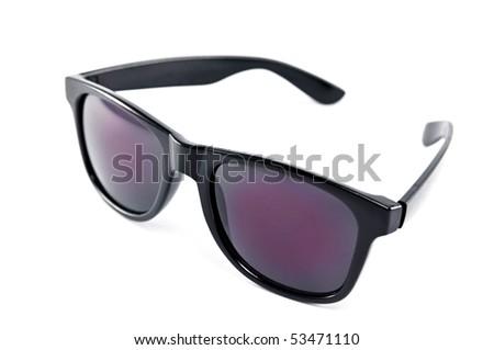 black modern sunglasses isolated over white (shallow DOF) - stock photo