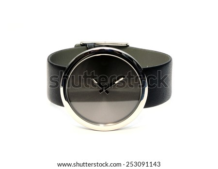 Black modern wrist watch isolated on white - stock photo