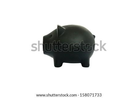 black money pig isolated on white background - stock photo