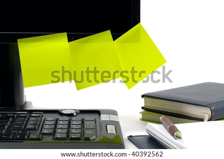 Black monitor with sticky notes to put your own text on. White background - stock photo