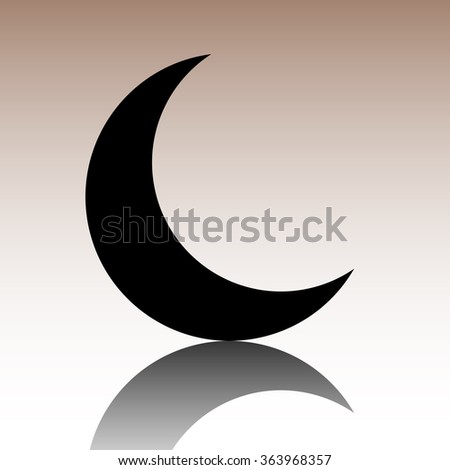 Black Moon icon. illusstration with reflection - stock photo