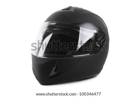 black motorcycle helmet isolated - stock photo