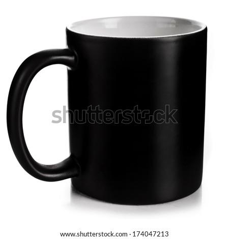 black mug  isolated on a white background  - stock photo