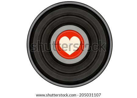 black music record with heart on red label isolated on white background - stock photo