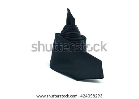 Black necktie on white background - stock photo