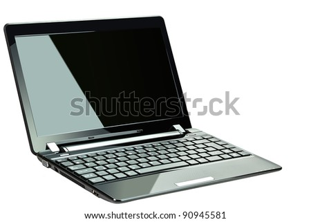 Black netbook isolated on white - stock photo