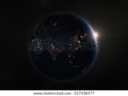 Black night earth and galaxy.Elements of this image furnished by NASA. - stock photo