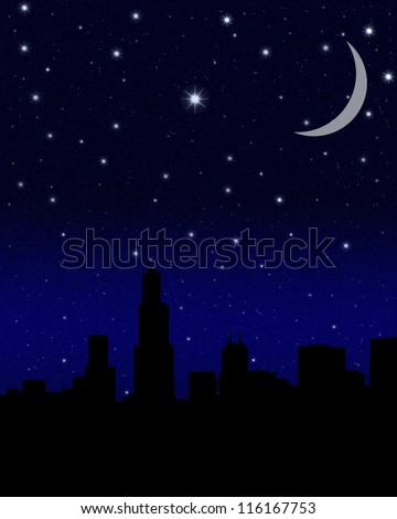 Black night sky plenty of stars with crescent Moon over a big city - stock photo