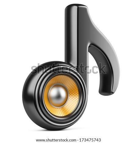 Black note and speaker. Audio concept isolated on a white background - stock photo