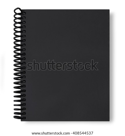 black note book isolate on white background with shadow - stock photo