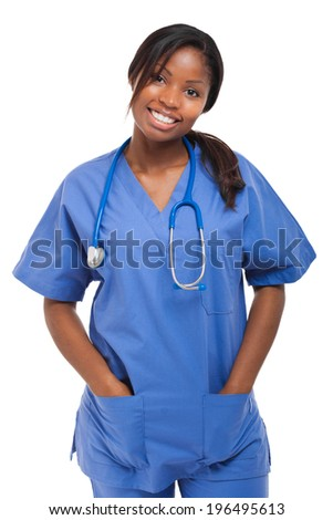 Black nurse isolated on white - stock photo