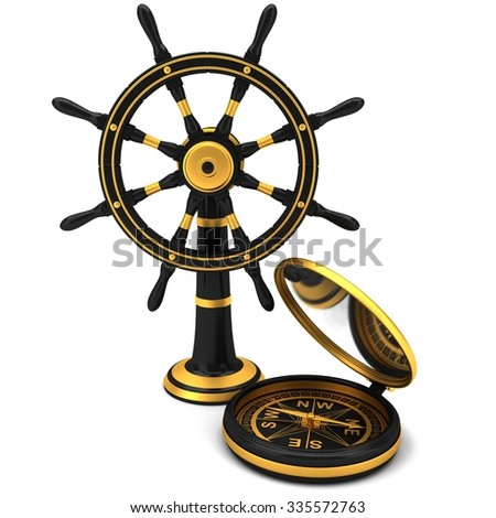 Black od boat steering wheel with compass isolated on the white background - stock photo