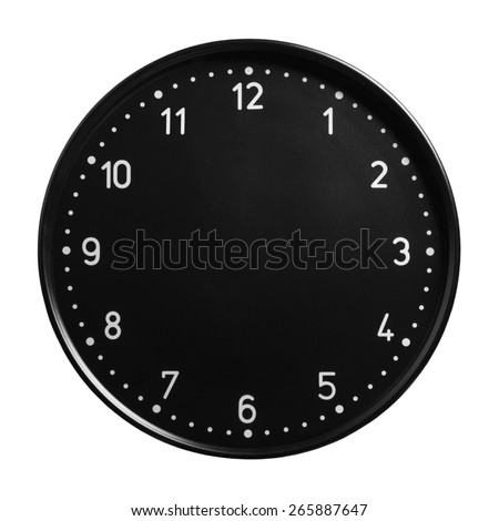 Black office clock face with no hands isolated on white background - stock photo