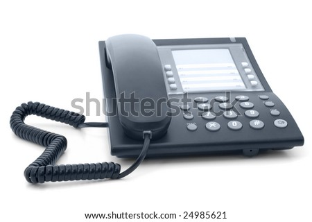 Black office phone with cord isolated on white background - stock photo