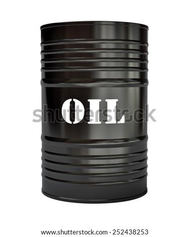 Black oil barrel on white background, 3d illustration - stock photo