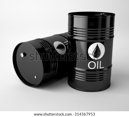 Black oil barrels isolated on white background.High resolution - stock photo