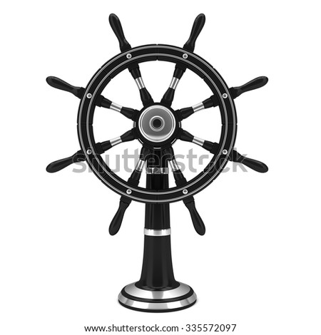 Black old boat steering wheel isolated on the white background - stock photo
