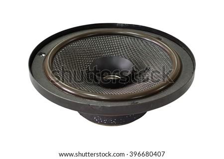 Black old car audio speaker, isolated on white background - stock photo