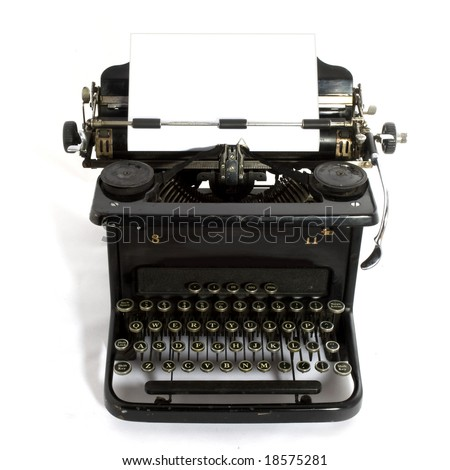 black old-fashioned typewriter with white paper for your text - stock photo