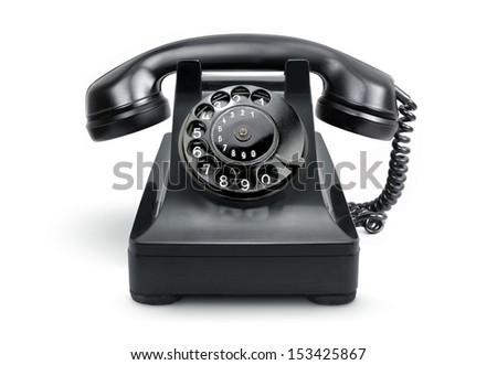 Black, old or classic telephone, isolated on a white background - stock photo