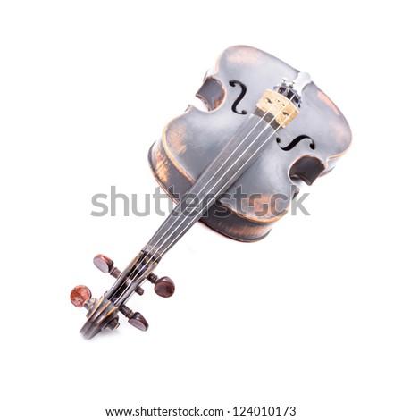 Black old violin on white - stock photo