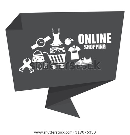 Black Online Shopping Origami Speech Bubble or Speech Balloon Infographics Sticker, Label, Sign or Icon Isolated on White Background - stock photo
