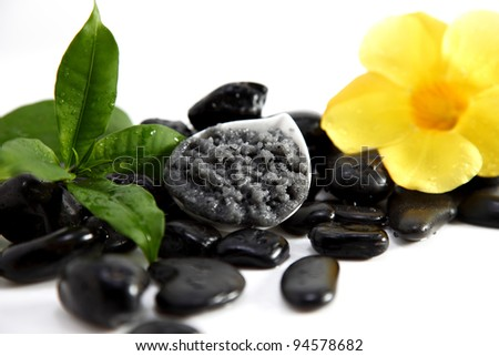 Black Organic Foot Scrub isolated on white with flowers and stones. - stock photo