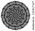 Black ornamental round lace on a white background- raster version - stock photo
