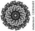 Black ornamental round lace on a white background - raster version - stock photo