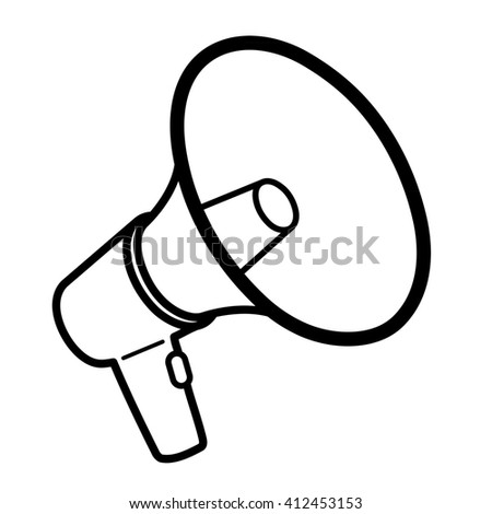 Black outline megaphone or bullhorn for amplifying the voice for protests rallies or public speaking isolated on white, illustration - stock photo