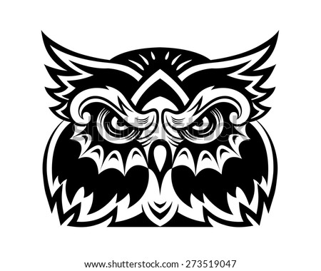 Black owl bird head for mascot or tattoo design - stock photo