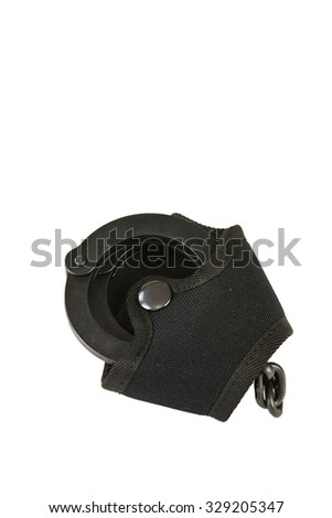 Black oxide police in handcuffs pouch belt - stock photo