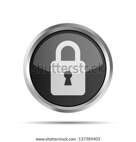 black padlock icon on a white background - stock photo