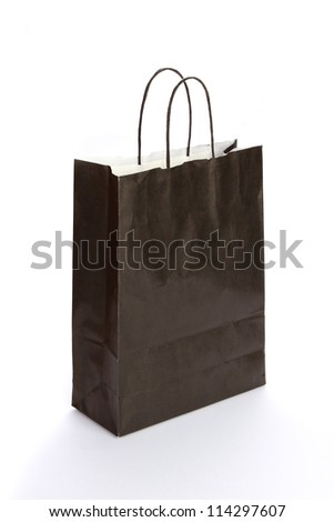 Black Paper Bag. isolated on white - stock photo