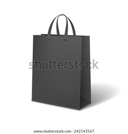 black paper bag isolated on white background - stock photo