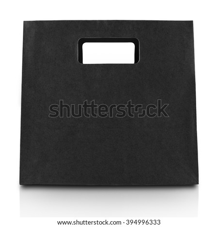 Black paper bag isolated on white with clipping path - stock photo