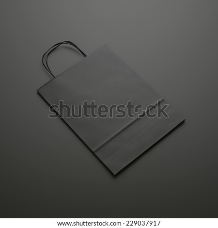 black paper bag with handles - stock photo