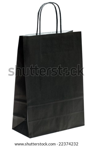 Black paper shopping bag isolated on a white background. - stock photo