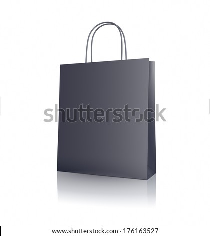 Black paper shopping bag on white background - stock photo