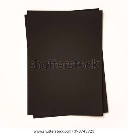 Black papers on white background, 3d rendered - stock photo
