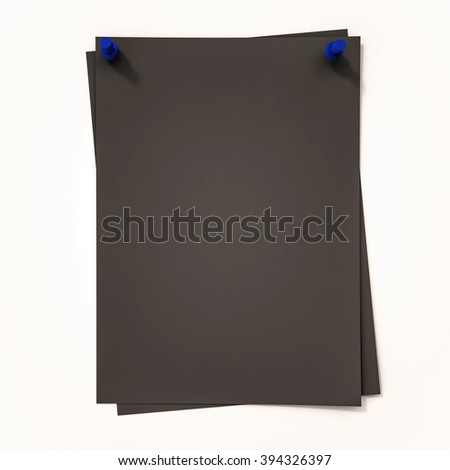 Black papers with blue pin on white background, 3d rendered - stock photo