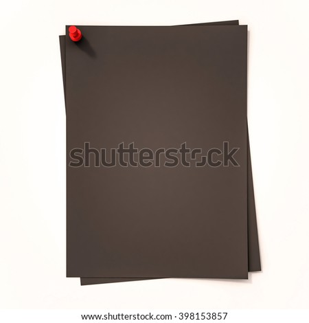 Black papers with red pin on white background, 3d rendered - stock photo