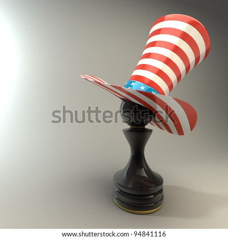 Black Pawn in a  TOP hat of usa High resolution 3D - stock photo