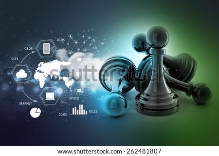 black pawn isolated   - stock photo