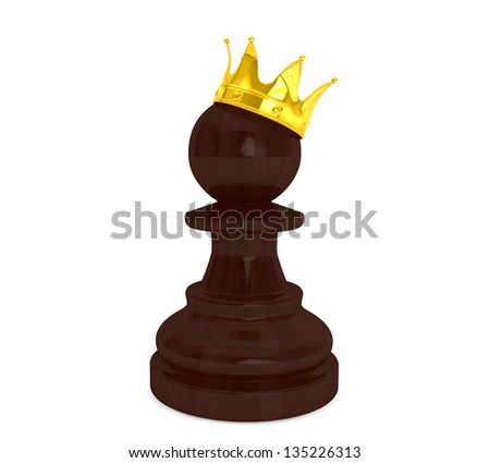 Black pawn with a golden crown on a white background - stock photo