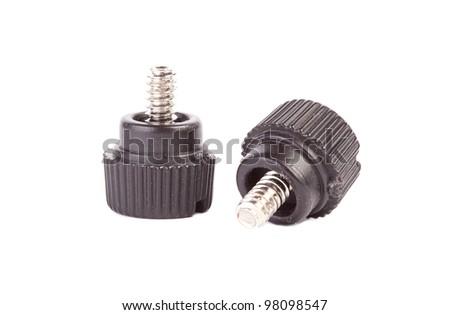 Black PC screws isolated on white background - stock photo