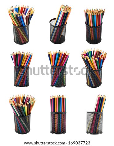 Black pencil holder full of colorful pencils isolated over white background, set of nine foreshortenings - stock photo