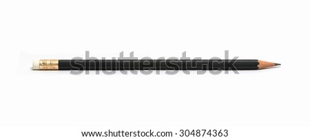 black pencil isolated on white - stock photo