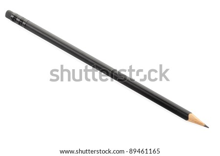 Black pencil isolated on white, clipping path included - stock photo