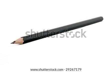 black pencil on a white background - stock photo